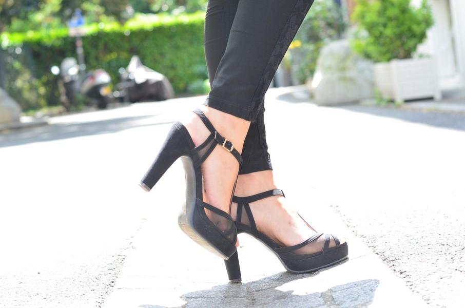 sandales noires a talons