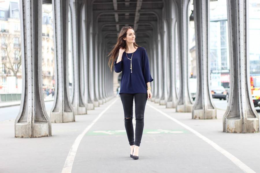 blouse bleu marine