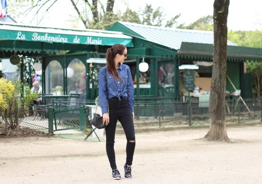 jean taille haute noir
